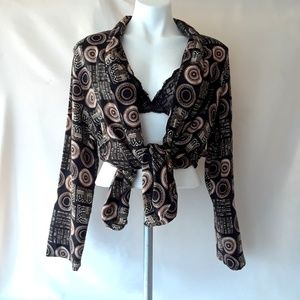 Vintage 80's Circle Print Oversized Light Blazer